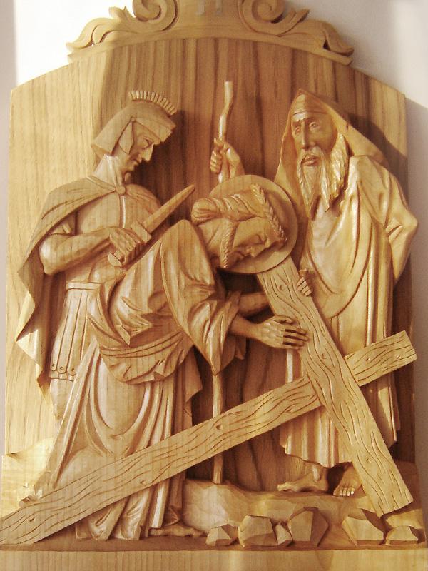 vyrezávaná krížová cesta, drevorezba