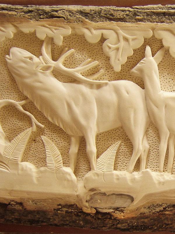 drevorezba jeleňov, poľovnícke obrazy
