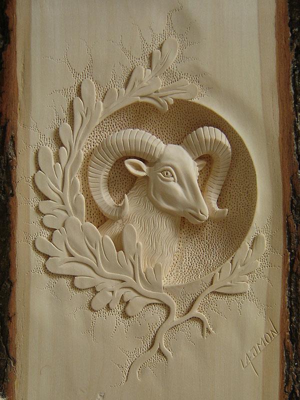 vyrezávaná hlava muflóna, drevorezba