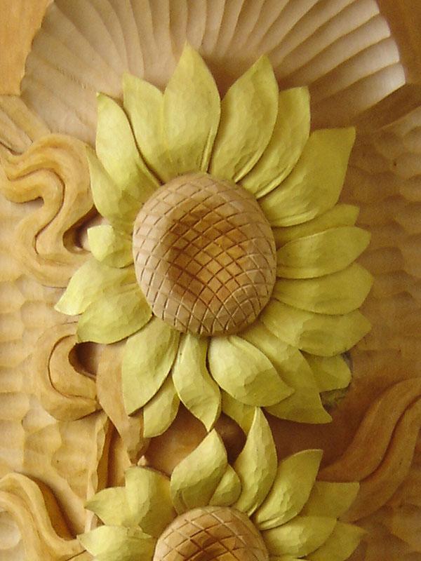 vyrezávané slnečnice, drevorezba